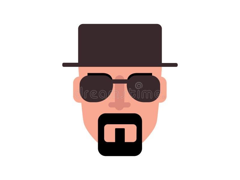 Vector men wearing a hat Mafia transparent glasses on a leg colored background stock illustration