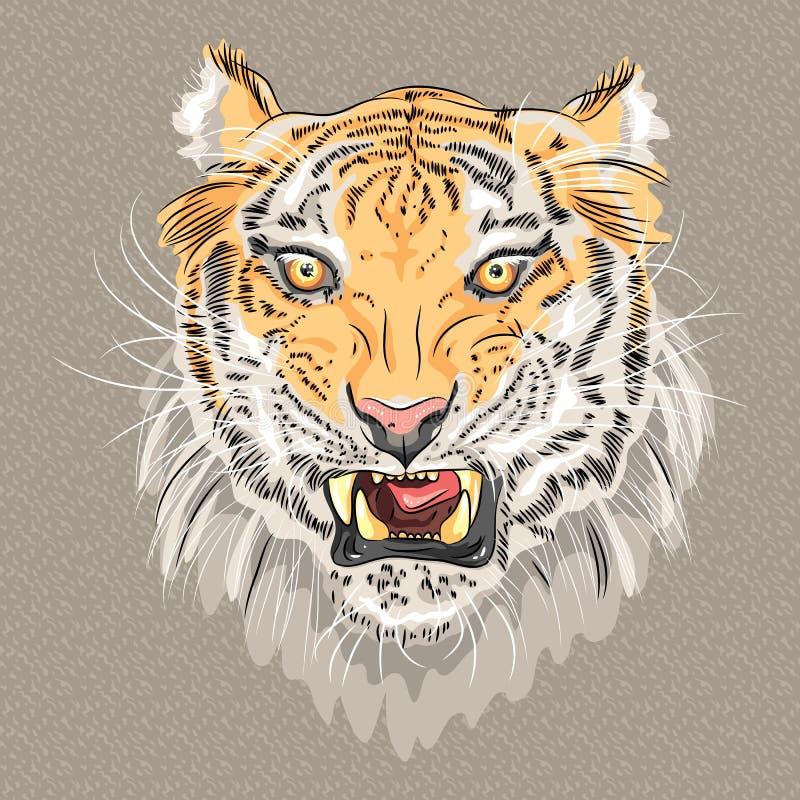 Vector menacing growling tiger vector illustration