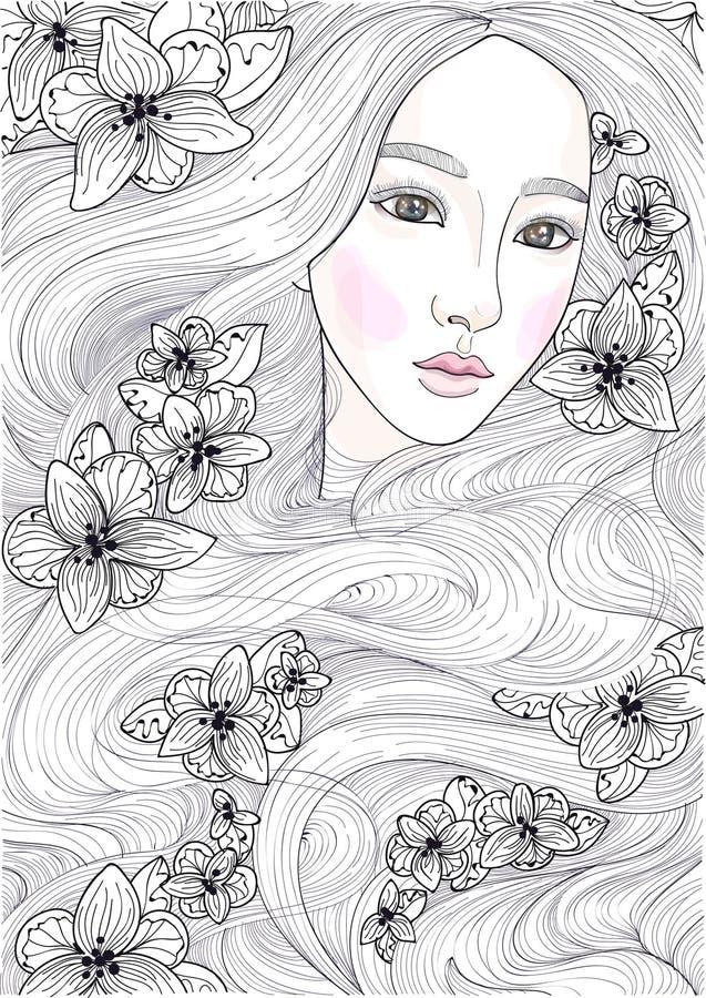 Vector a menina bonita com cabelo longo dos milagre e as orquídeas pretas ilustração do vetor