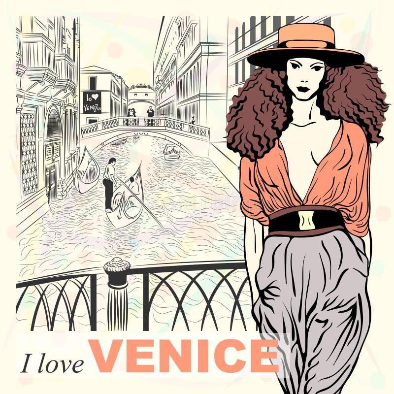 Vector a menina bonita da forma em um fundo de Veneza ilustração royalty free