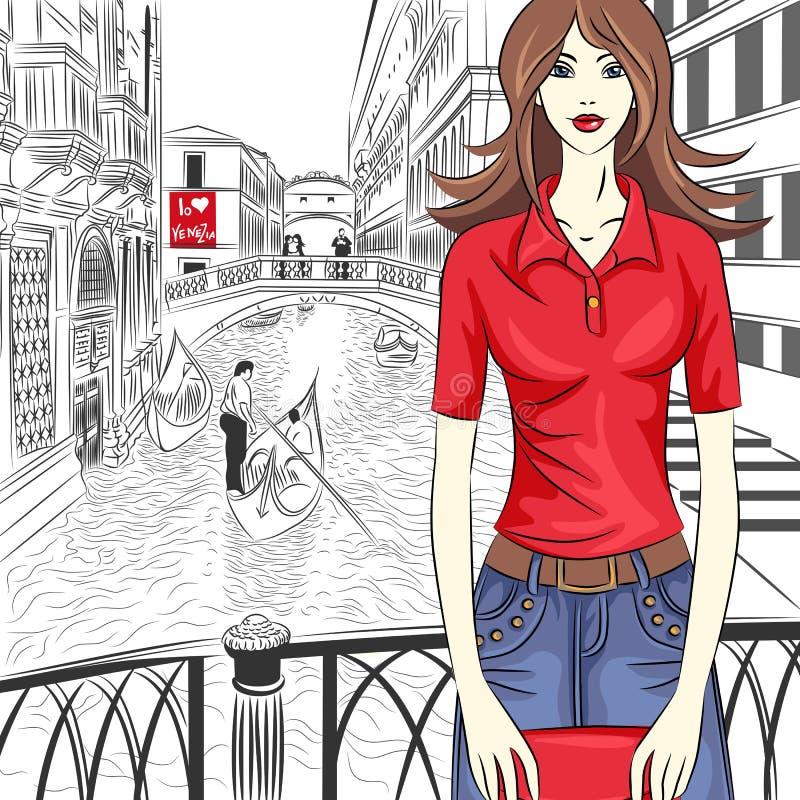 Vector a menina bonita da forma em um fundo de Veneza ilustração stock
