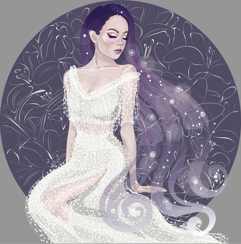 Vector a menina bonita no fundo dos lírios ilustração stock