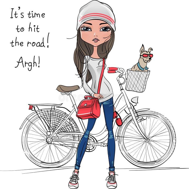 Vector a menina bonito do moderno com bicicleta e cão ilustração royalty free
