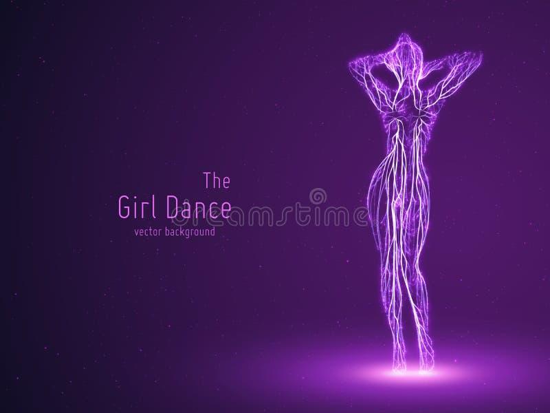 Vector a menina de dança construída com linhas violetas e partículas de incandescência Pose lenta elegante da dança Conceito da m ilustração royalty free