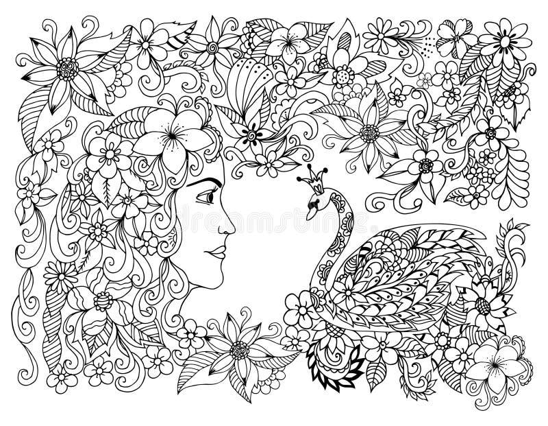 Vector a menina de Zen Tangle da ilustração e a princesa da cisne nas flores Dudling Anti esforço do livro para colorir para adul ilustração royalty free