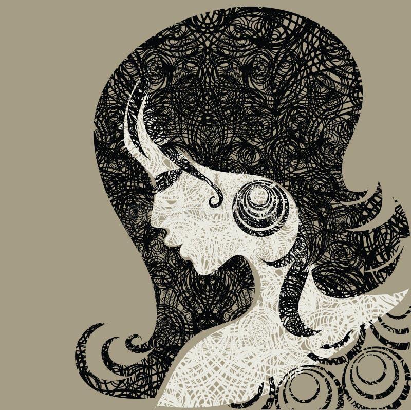 Vector a menina do grunge com cabelo bonito ilustração do vetor