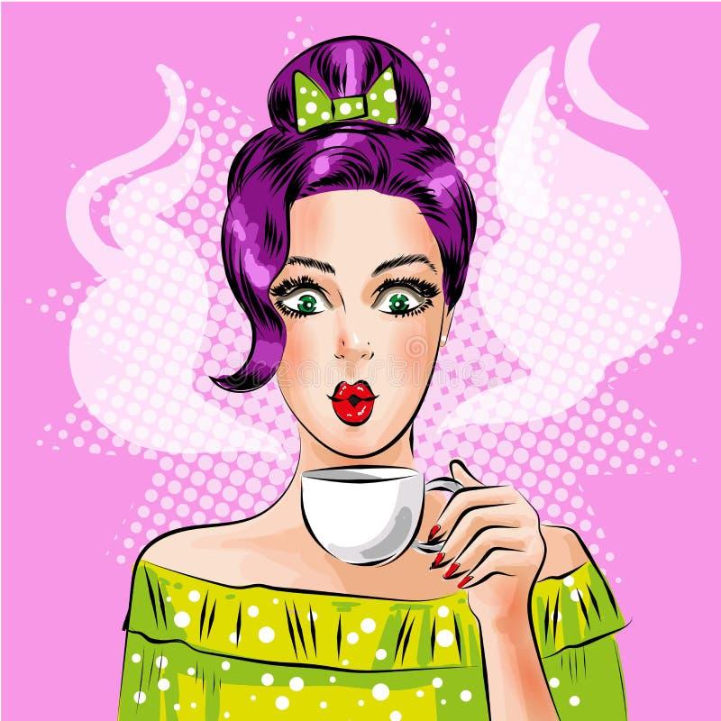 Vector a menina do pop art com o copo do café quente ilustração stock