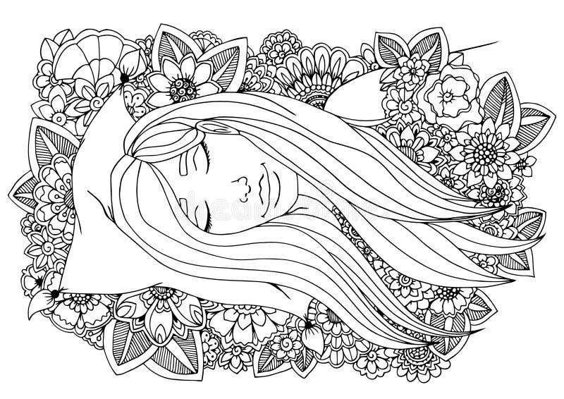 Vector a menina do zentangle da ilustração que dorme em um descanso nas flores Desenho da garatuja Exercício meditativo coloração ilustração royalty free