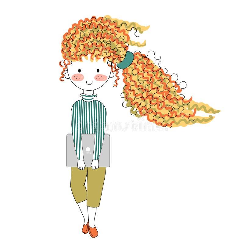 Vector a menina feliz do caráter da ilustração no estilo dos desenhos animados da garatuja imagem de stock