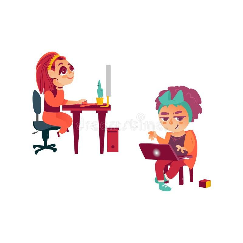 Vector a menina lisa que usa o PC, criança com portátil ilustração stock