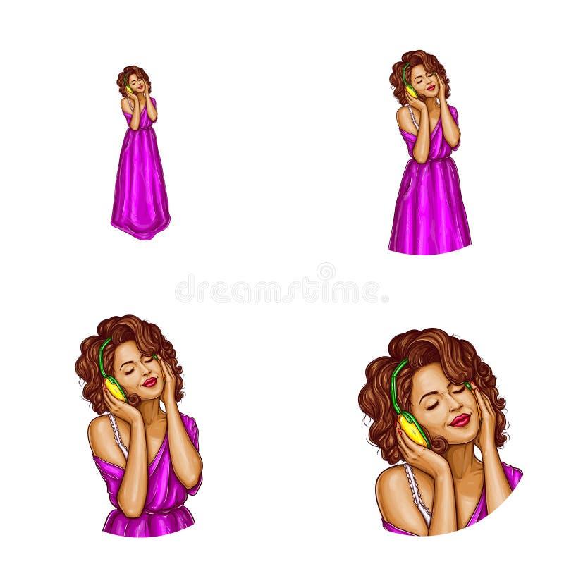 Vector a menina no vestido roxo, avatar dos fones de ouvido ilustração stock