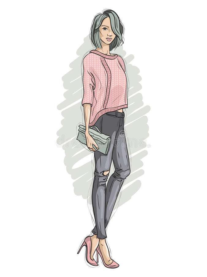 Vector a menina vestida em calças de brim rasgadas, camiseta do moderno, sapatas da corte com um saco de embreagem em sua mão, es ilustração stock