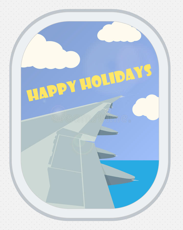 Vector Mening van het vliegtuigvenster Groetkaart: Gelukkige Holi stock illustratie