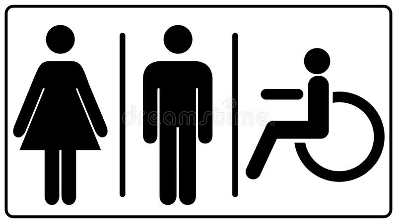 Vector mens and womens disabled restroom signage set royalty free stock photos