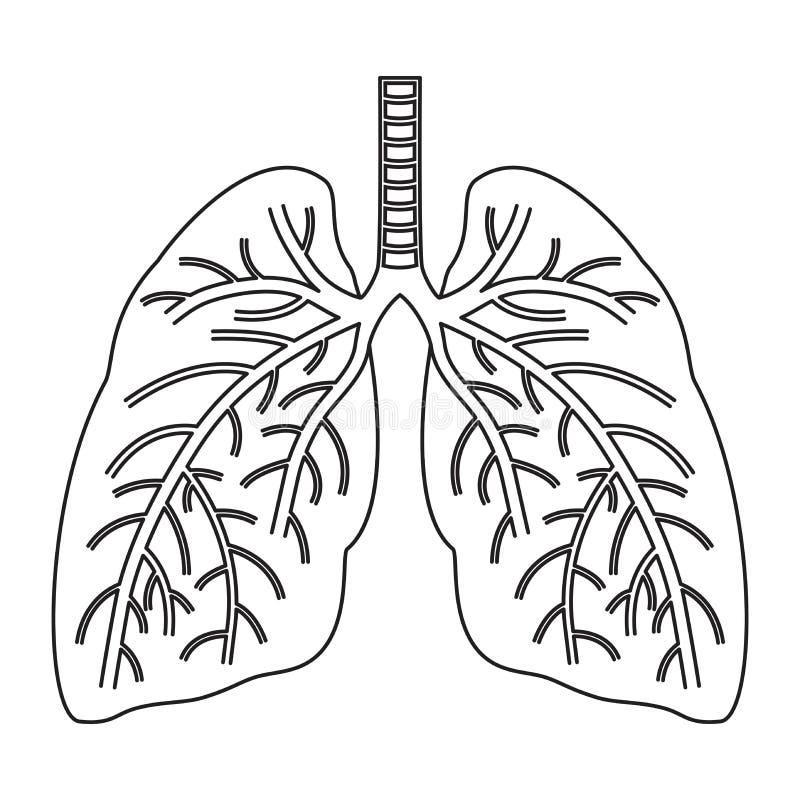 Vector menselijk longen vlak pictogram royalty-vrije illustratie