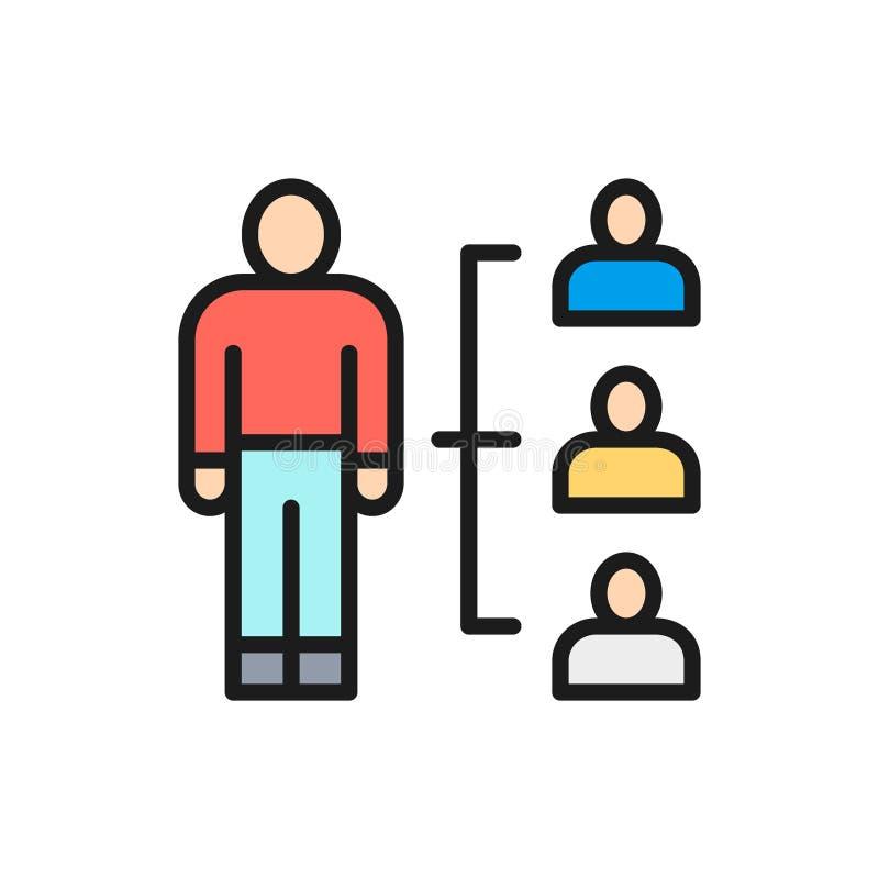 Vector menselijk middelbeheer, rekrutering en het huren vlak rassenbarrièrepictogram royalty-vrije illustratie