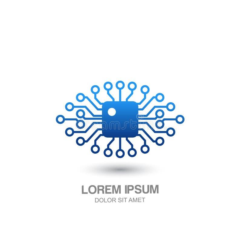 Vector menselijk technologie-oogembleem, teken, het element van het embleemontwerp vector illustratie