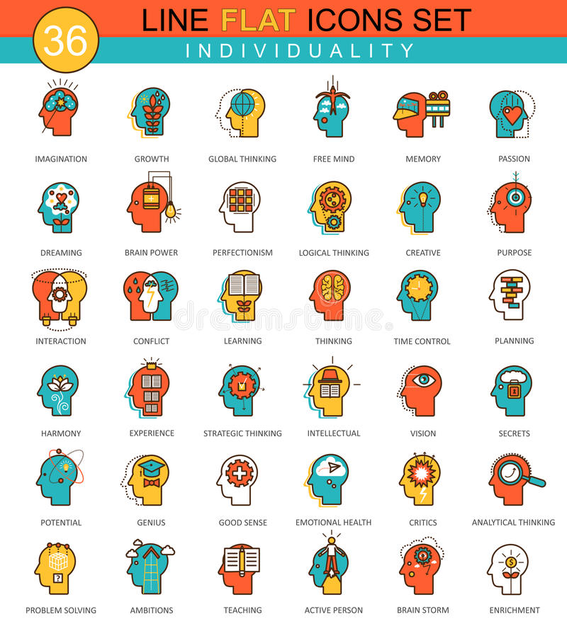 Vector Menselijke persoonlijkheid en individualiteits het pictogramreeks van de eigenschappen vlakke lijn Modern elegant stijlont stock illustratie