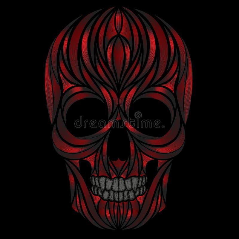 Vector menselijke schedel met bloedige patronen in de vorm van spier stock illustratie