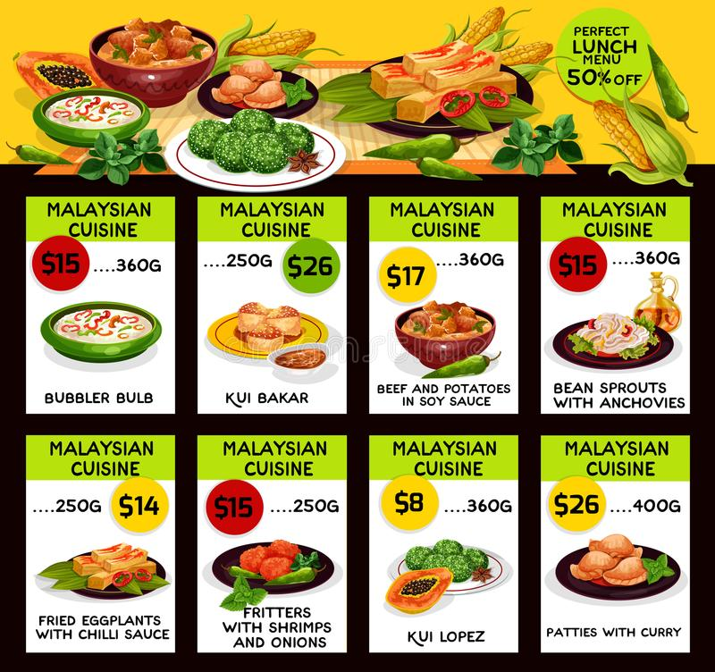 Free Vector Menu For Malaysian Cuisine Restaurant Stock Images - 102403624