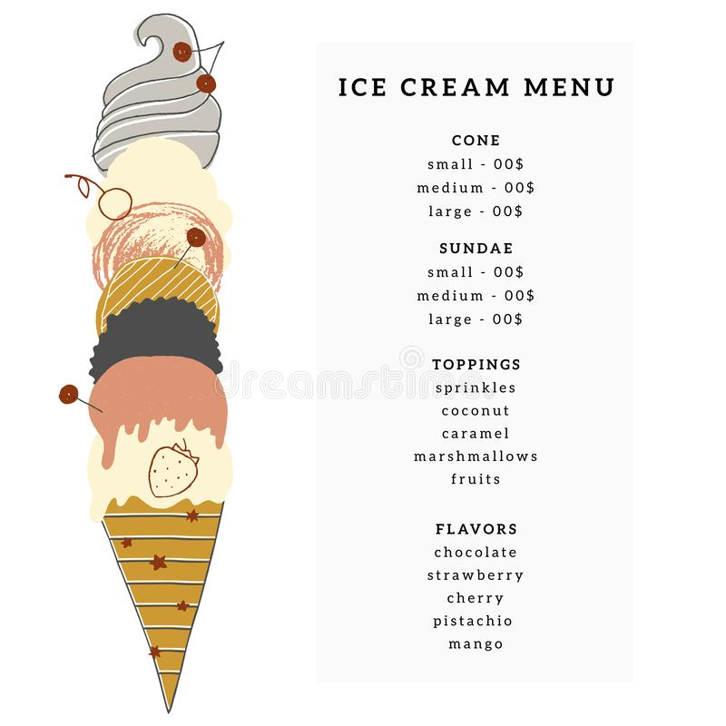 Free Vector Menu Template For Cafe Or Shop With Big Hand Drawn Ice-cream Cone. Stock Photos - 167056713