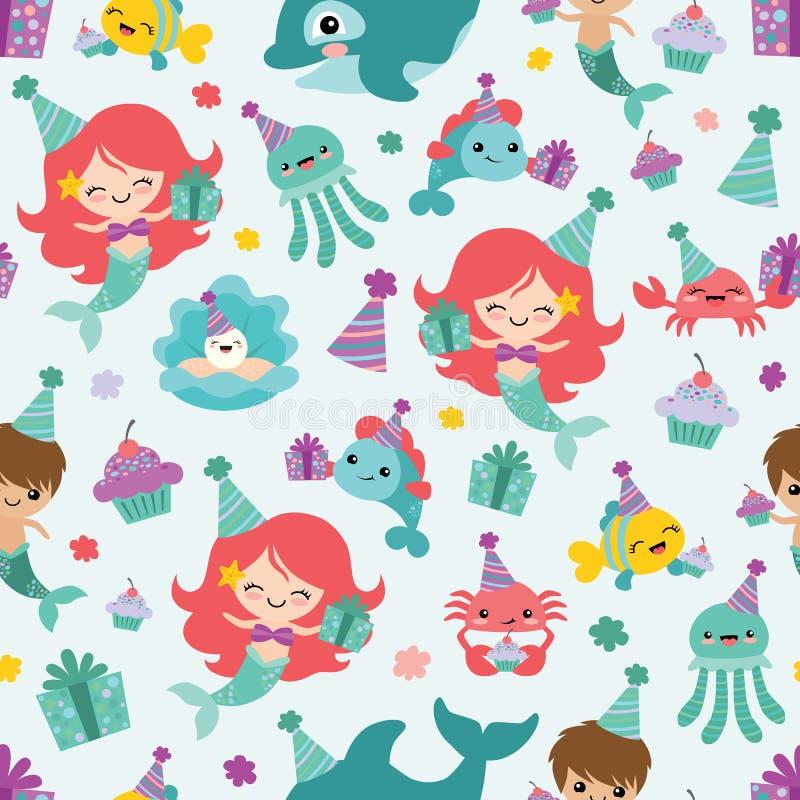 Vector Mermaid Birthday Sea Friends Seamless Pattern Background vector illustration