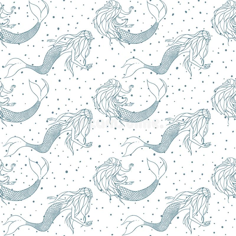 Vector mermaids blue contours seamless pattern. Mythical sea creatures royalty free illustration
