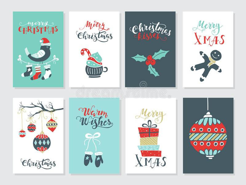 Christmas cards set. Vector Merry Christmas greeting cards and invitations isolated on background. Set with cute xmas tree, mistletoe and bird hand drawn designs stock illustration