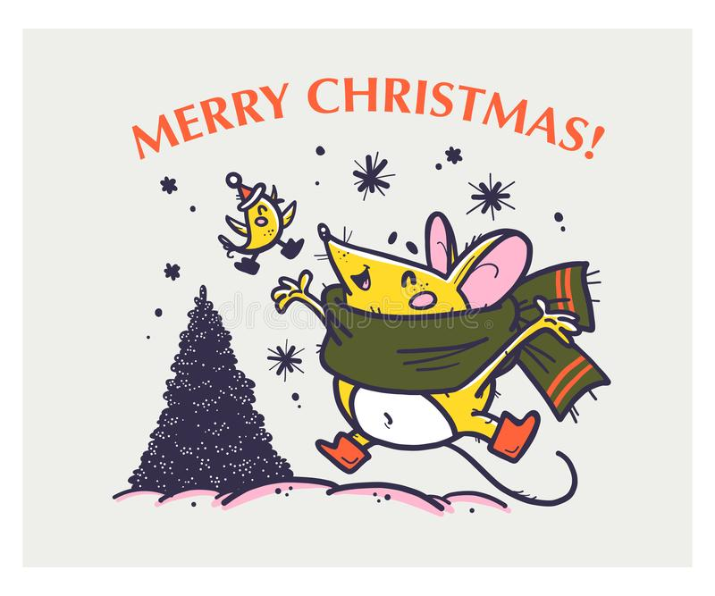 Vector Merry Christmas hand drawn funny mouse character in scarf jump happy, little bird fly and fir tree on white background. stock illustration