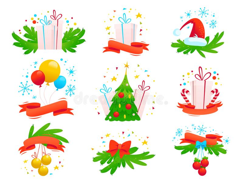 Vector Merry Christmas and Happy New year decoration tradition arrangements isolated on white background. stock illustration