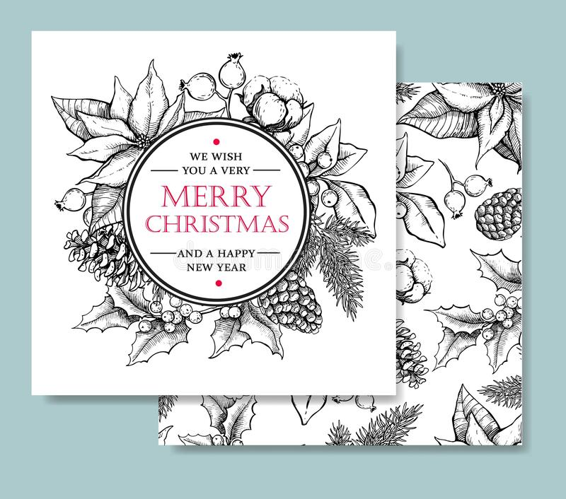 Vector Merry Christmas and Happy New Year hand drawn vintage car royalty free illustration