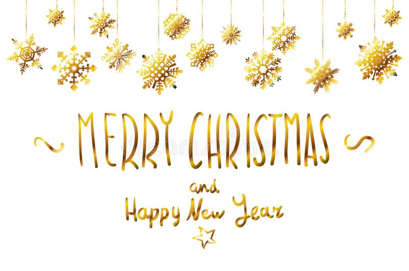 Download Vector Merry Christmas And Happy New Year Hand Lettering Decorations Of Golden Stars