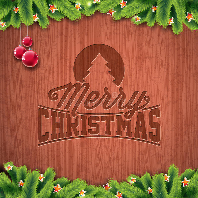 Vector Merry Christmas Holiday and Happy New Year illustration with engraved typographic design and snowflakes on wintage wood. Background. EPS 10 illustration royalty free illustration