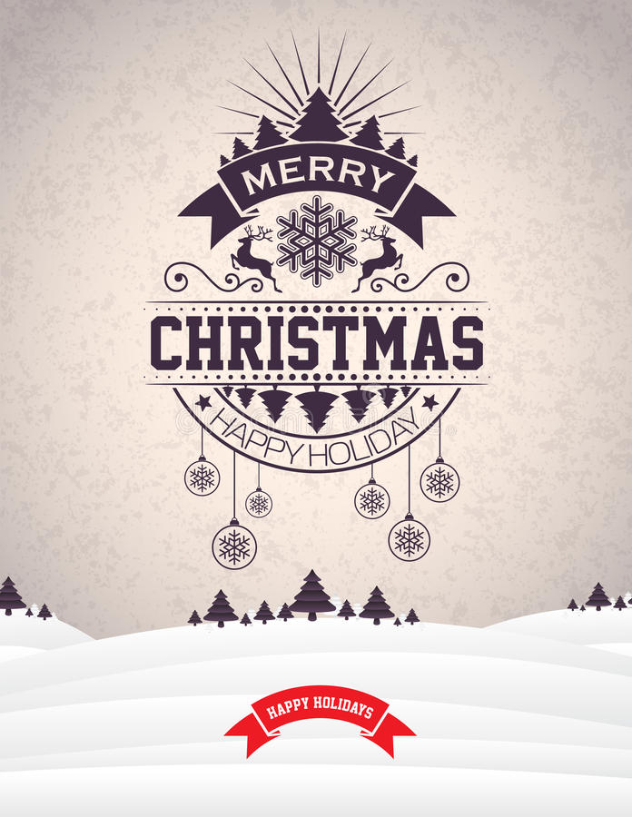 Vector Merry Christmas Holiday and Happy New Year illustration with typographic design and snowflakes on winter landscape. Background. EPS 10 illustration stock illustration