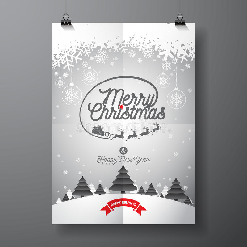 Vector Merry Christmas Holiday and Happy New Year illustration with typographic design and snowflakes on winter landscape. Background. EPS 10 illustration royalty free illustration