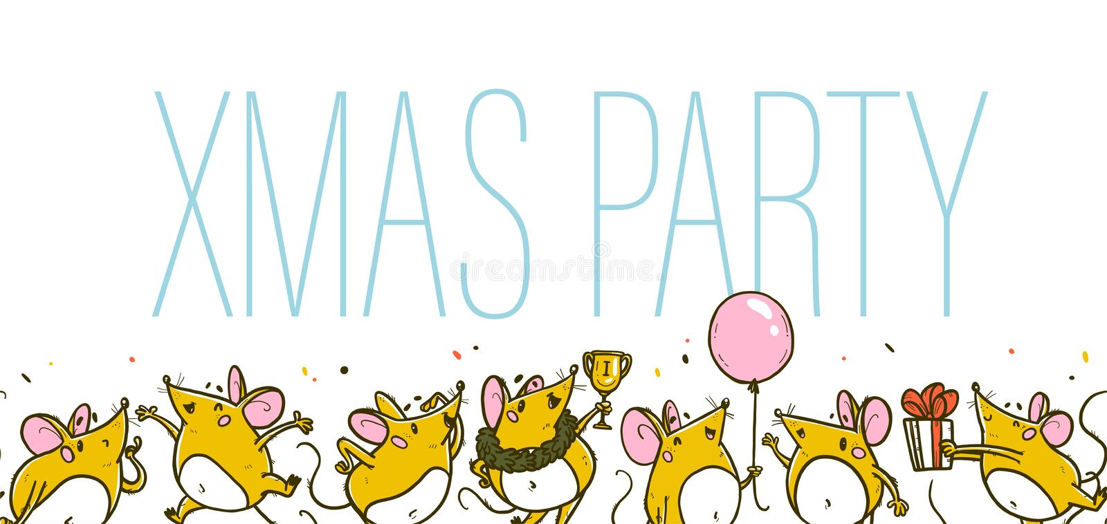 Vector Merry Christmas illustration. Xmas party concept with hand drawn funny mice character celebrating happy on white background stock illustration