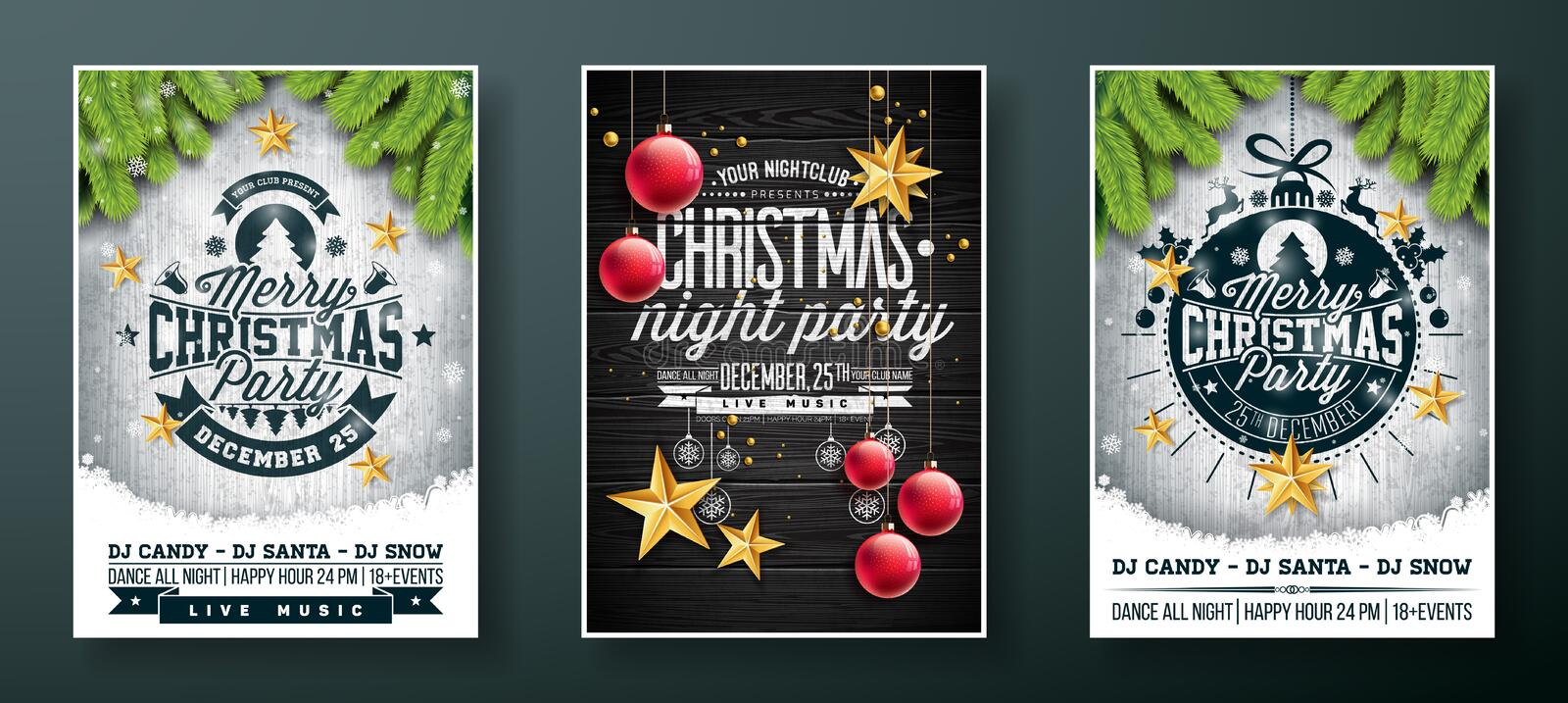 Vector Merry Christmas Party Flyer design with holiday typography elements and gold cutout paper stars, glass ball on vector illustration