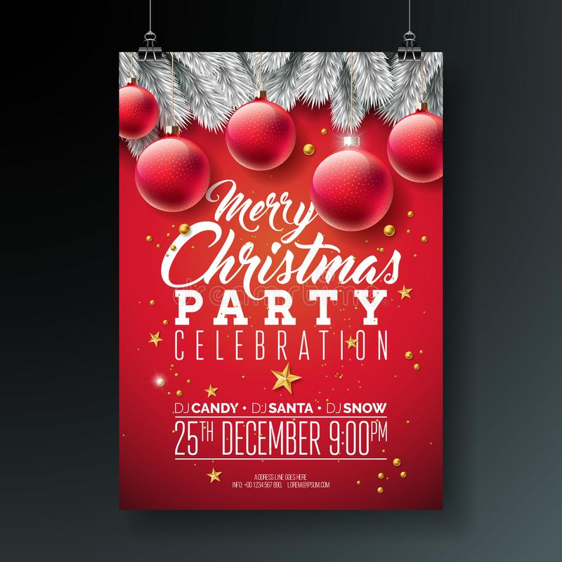 Vector Merry Christmas Party Flyer Illustration with Typography and Holiday Elements on Blue background. Invitation royalty free illustration