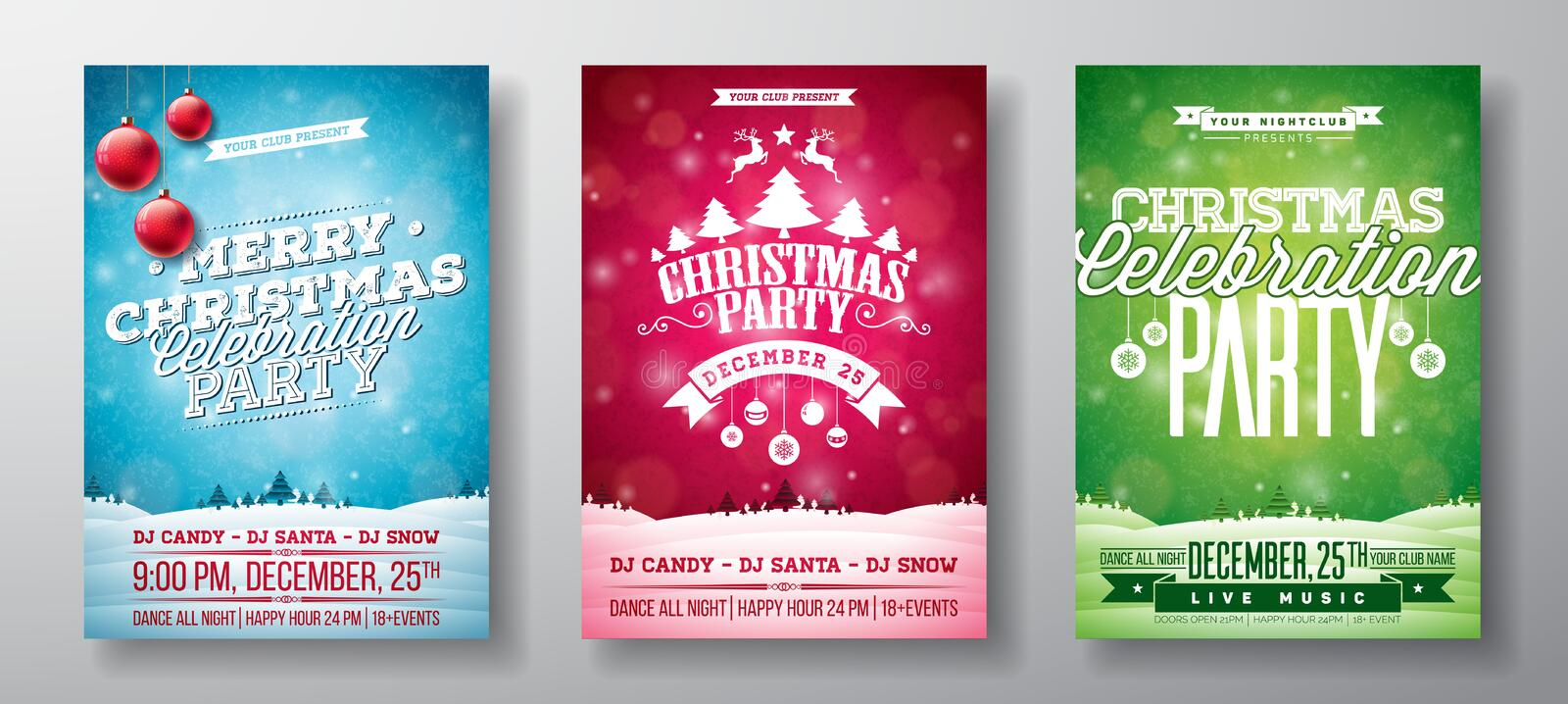 Vector Merry Christmas Party Flyer Illustration with Typography and Holiday Elements on Vintage background. Winter stock illustration