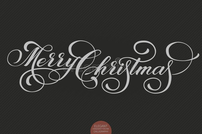 Vector Merry Christmas text. Calligraphic lettering design card template.Creative typography gift poster for holidays on royalty free illustration