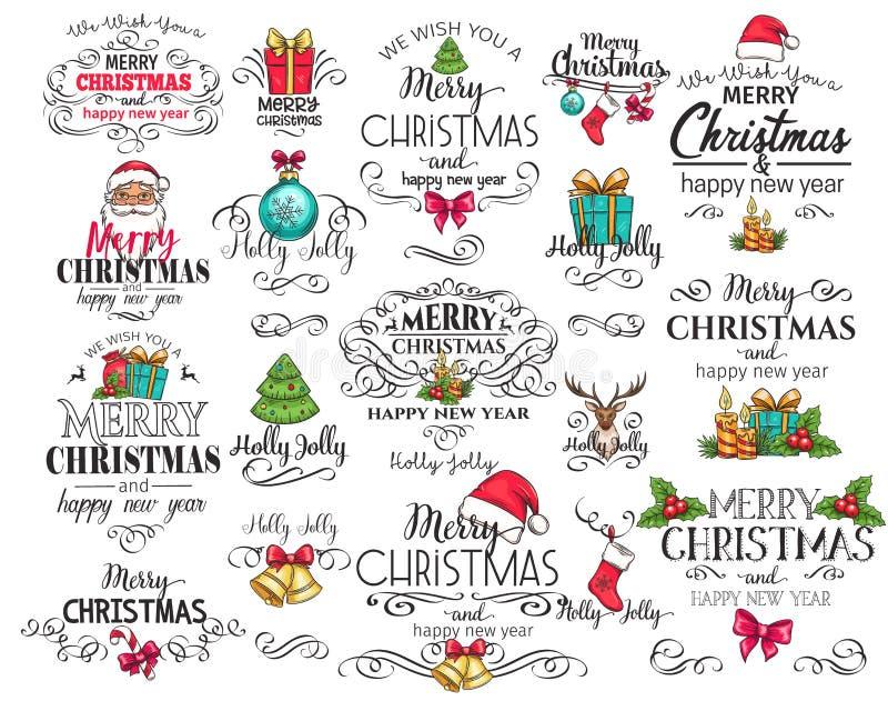Vector Merry Christmas typography set. stock illustration