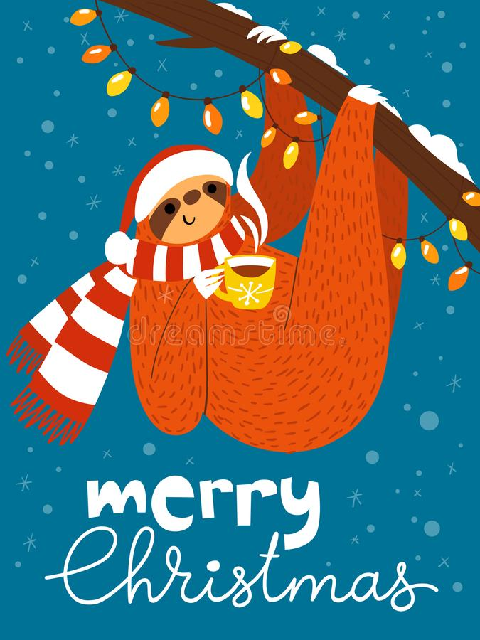 Vector Merry Christmas card with cute funny sloth with coffee cup stock illustration