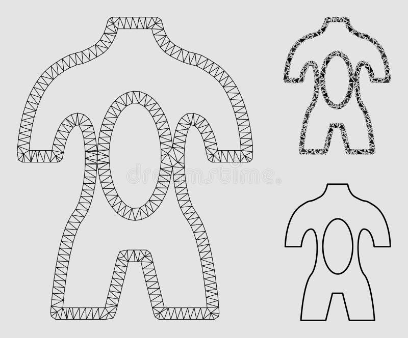 Vector Mesh Carcass Model de la disección e icono del mosaico del triángulo stock de ilustración