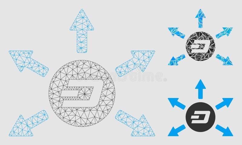 Vector Mesh Carcass Model de las flechas del desembolso de la moneda de la rociada e icono del mosaico del triángulo libre illustration