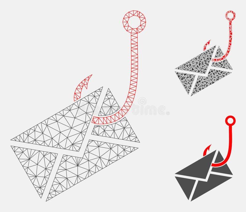 Vector Mesh Carcass Model del gancho del phishing del sobre e icono del mosaico del triángulo ilustración del vector