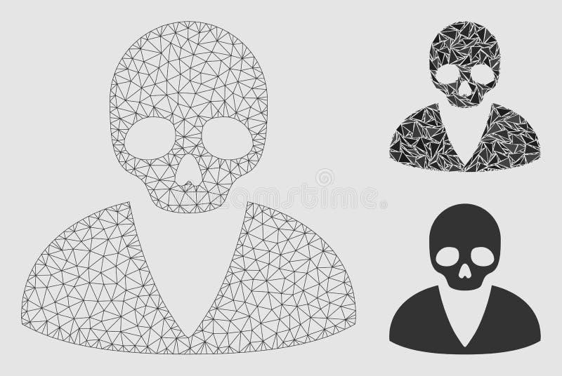 Vector Mesh Carcass Model del hombre de la muerte e icono del mosaico del triángulo libre illustration