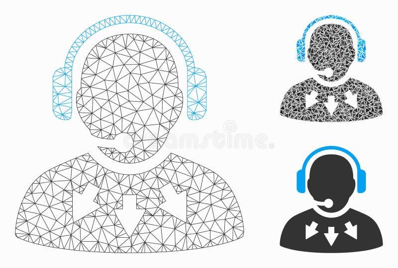 Vector Mesh Carcass Model del mensaje de operador e icono del mosaico del triángulo ilustración del vector