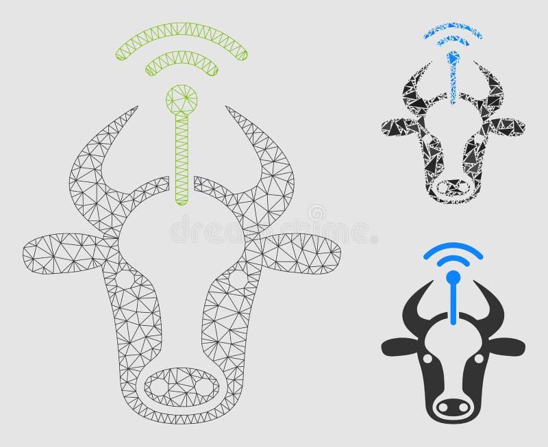 Vector Mesh Carcass Model del radiotransmisor de la vaca e icono del mosaico del triángulo ilustración del vector