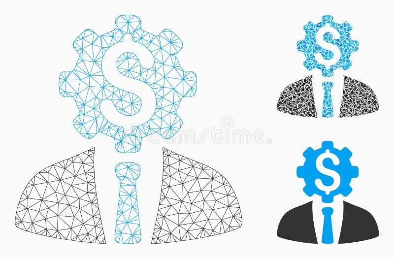 Vector Mesh Carcass Model del trabajador del engranaje del dólar de la oficina e icono del mosaico del triángulo ilustración del vector