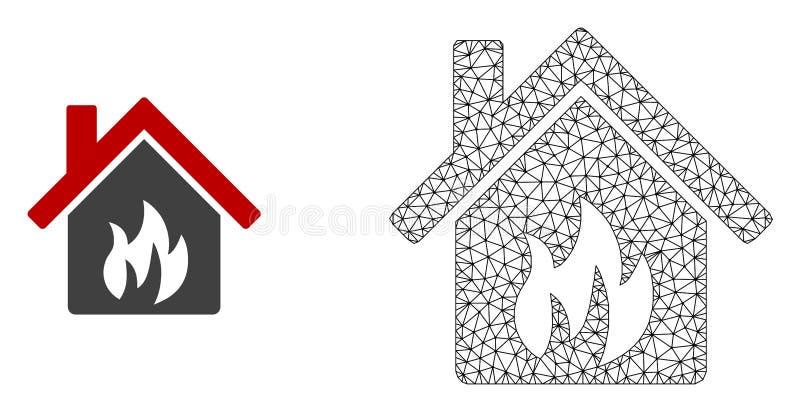 Vector Mesh Kitchen Building poligonal e icono plano ilustración del vector